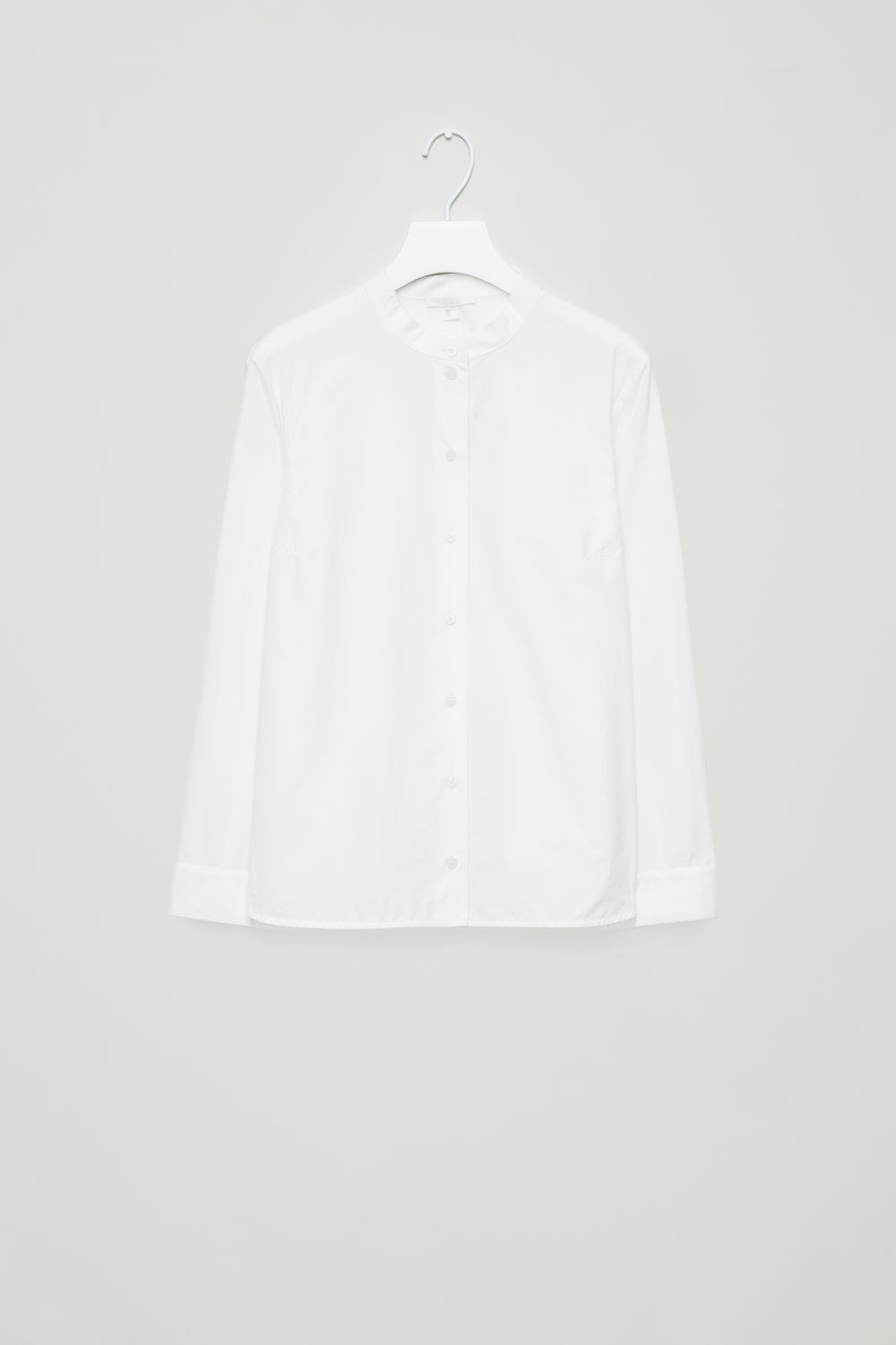 GRANDAD-COLLARED POPLIN SHIRT