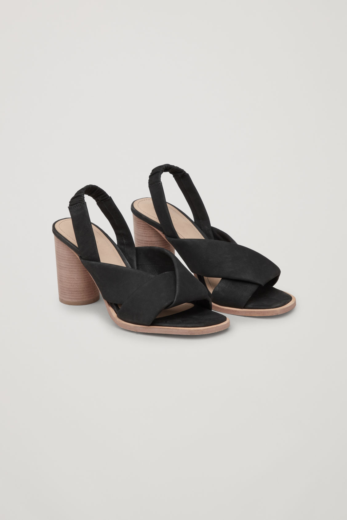 Front image of Cos knotted nubuck heeled sandals in black