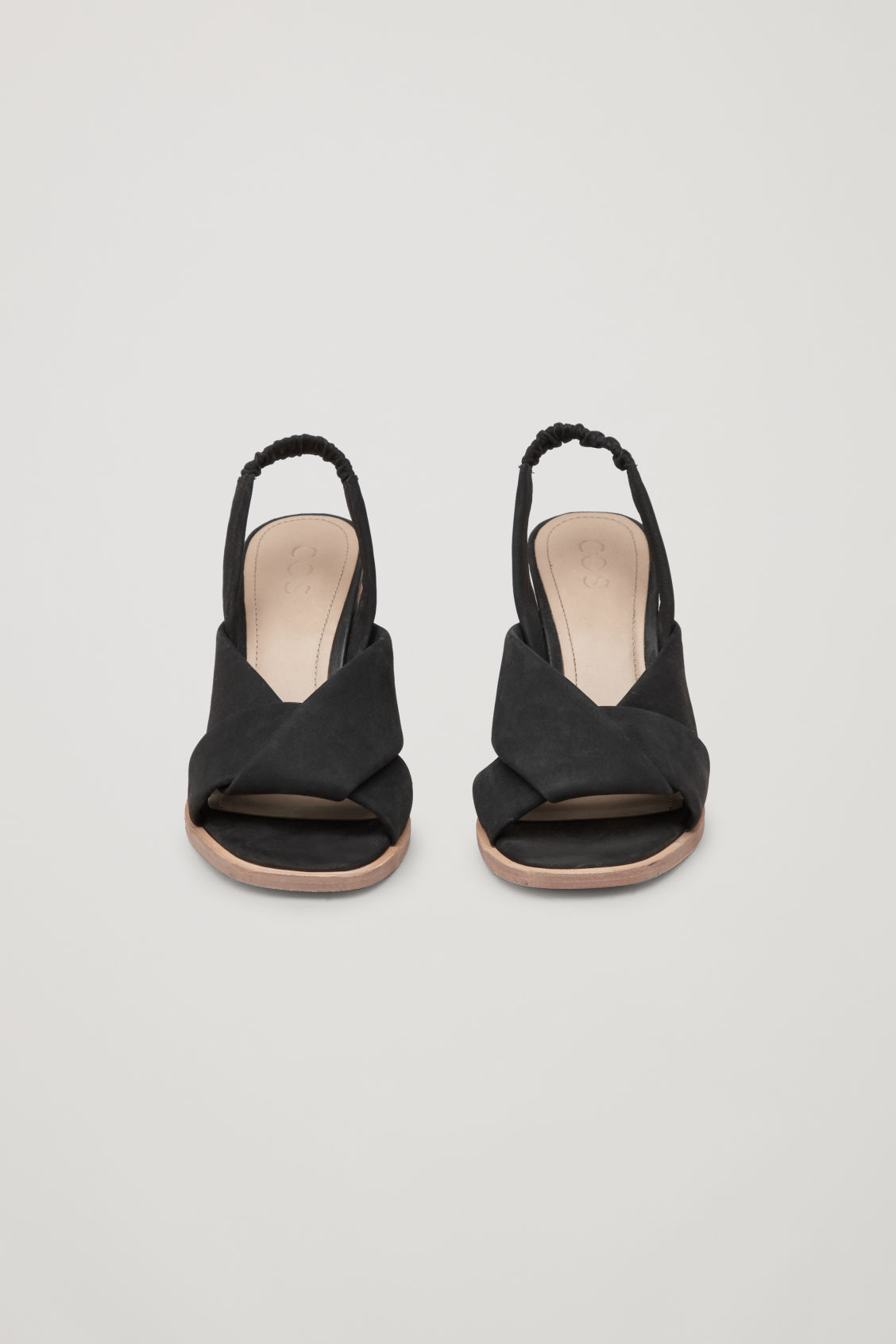 Side image of Cos knotted nubuck heeled sandals in black