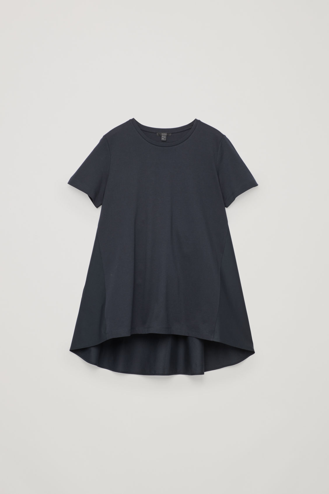 Front image of Cos short sleeve a-line top in blue
