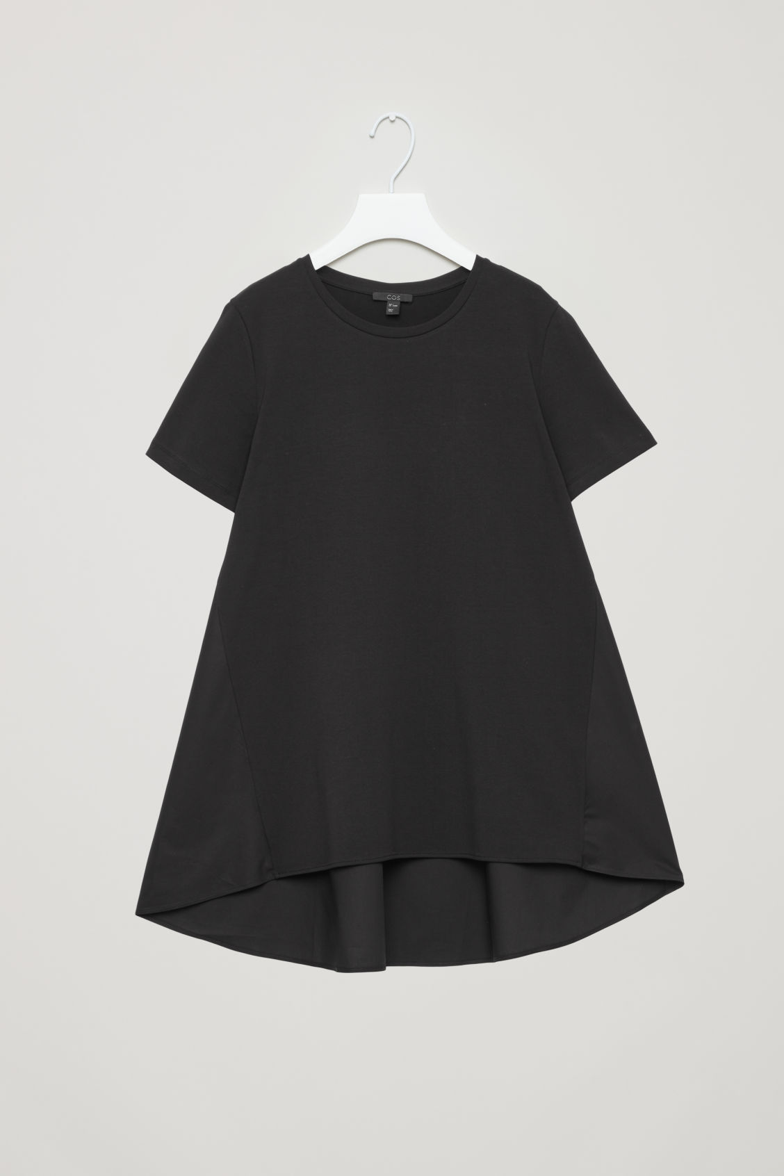 Front image of Cos short-sleeved a-line top in black