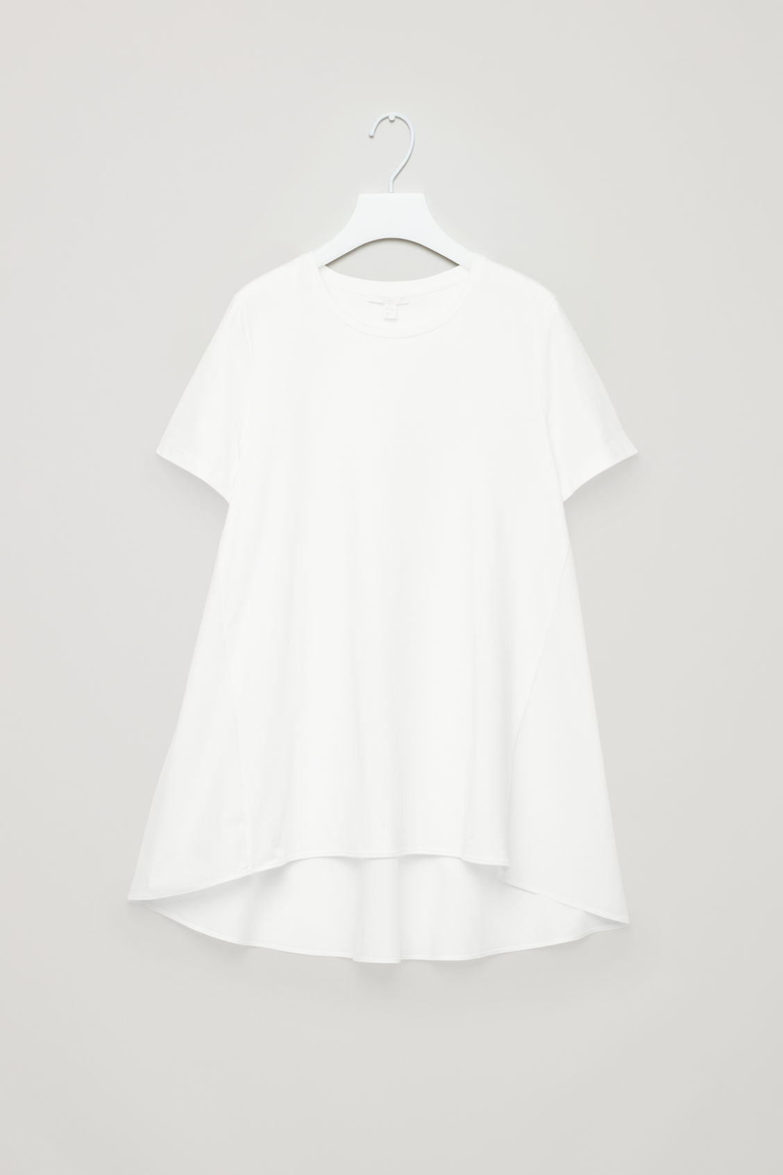 Front image of Cos short-sleeved a-line top in white