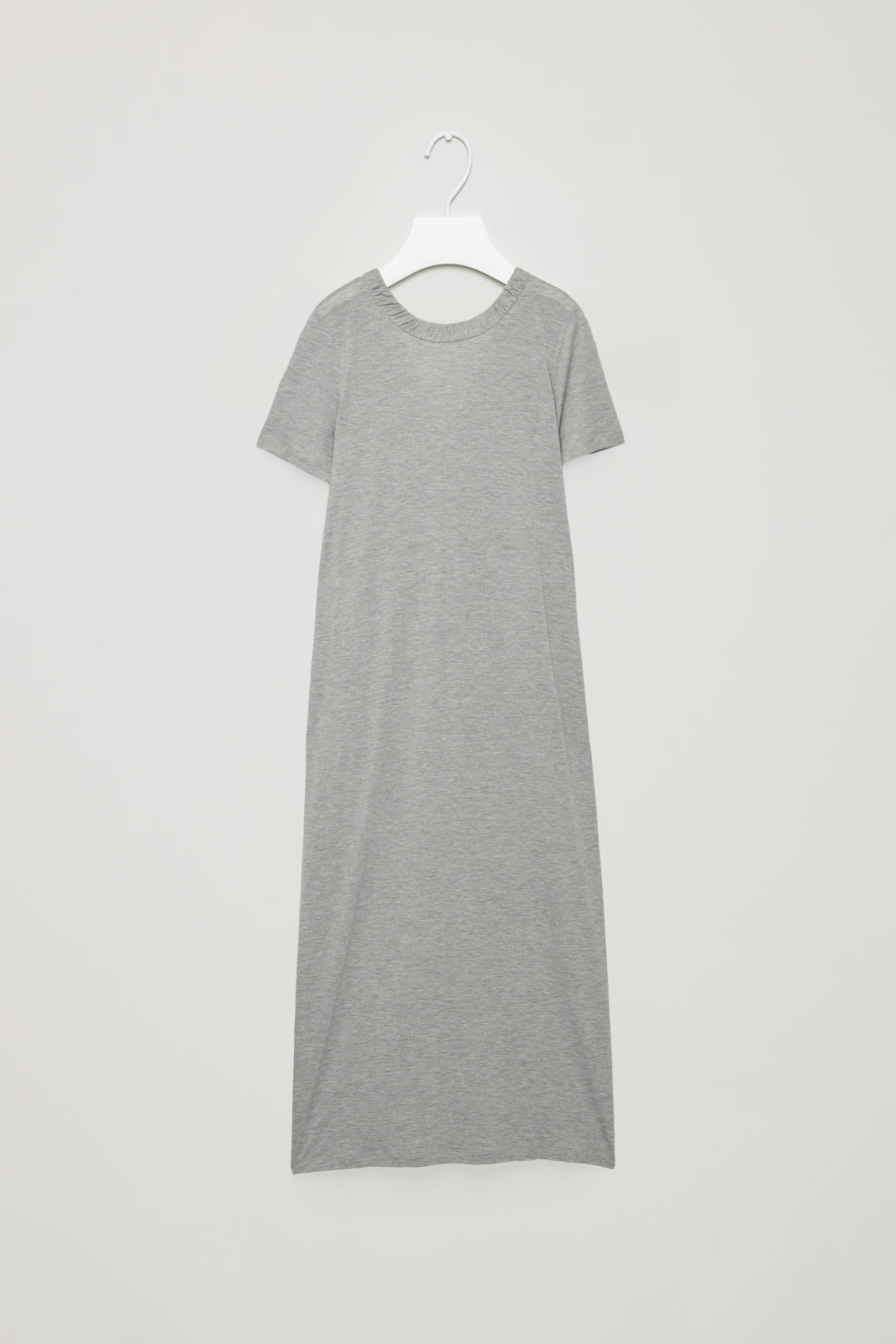 Front image of Cos long gathered jersey dress in grey