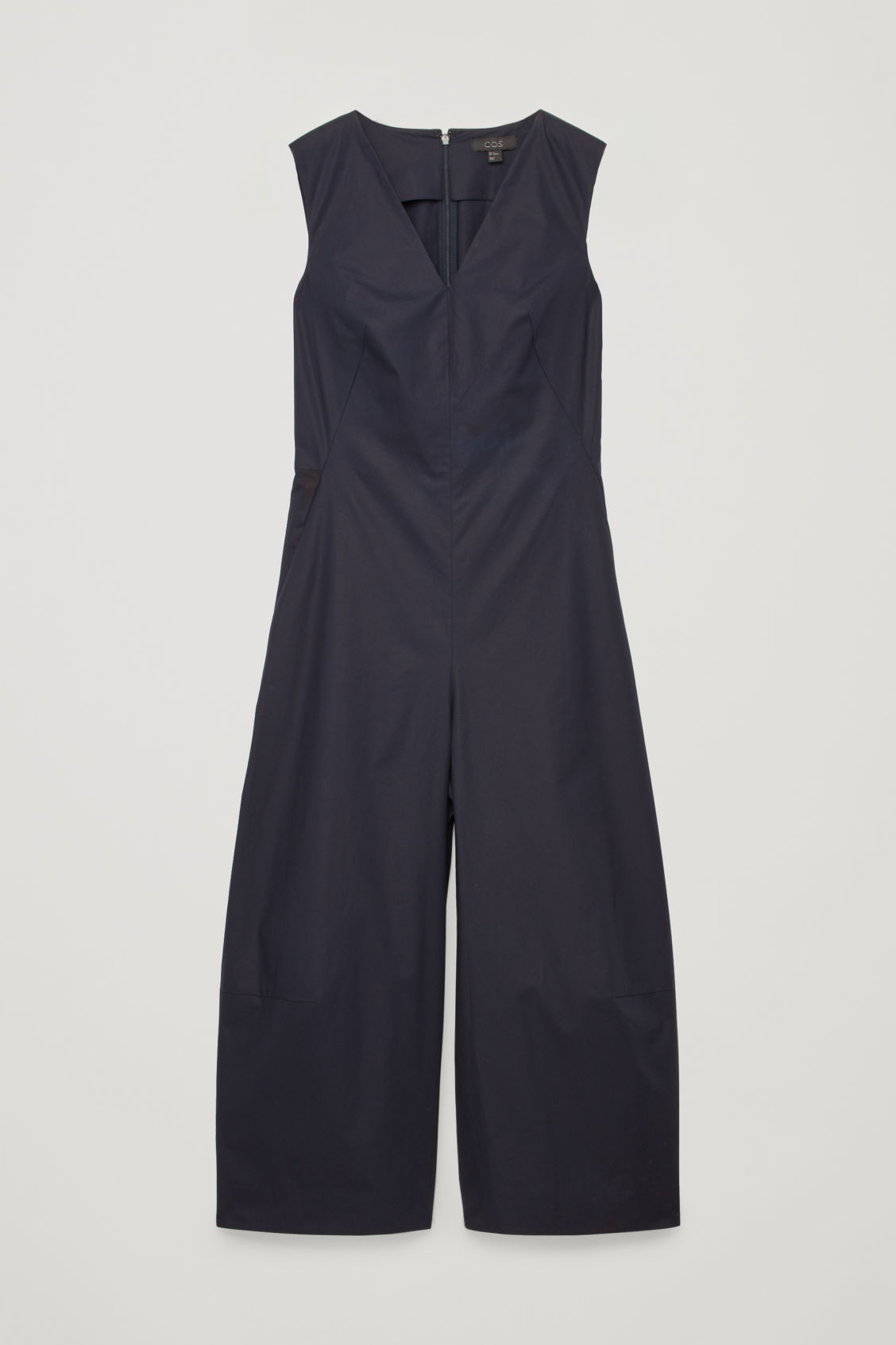 Front image of Cos wide-leg jumpsuit with v-neck in blue