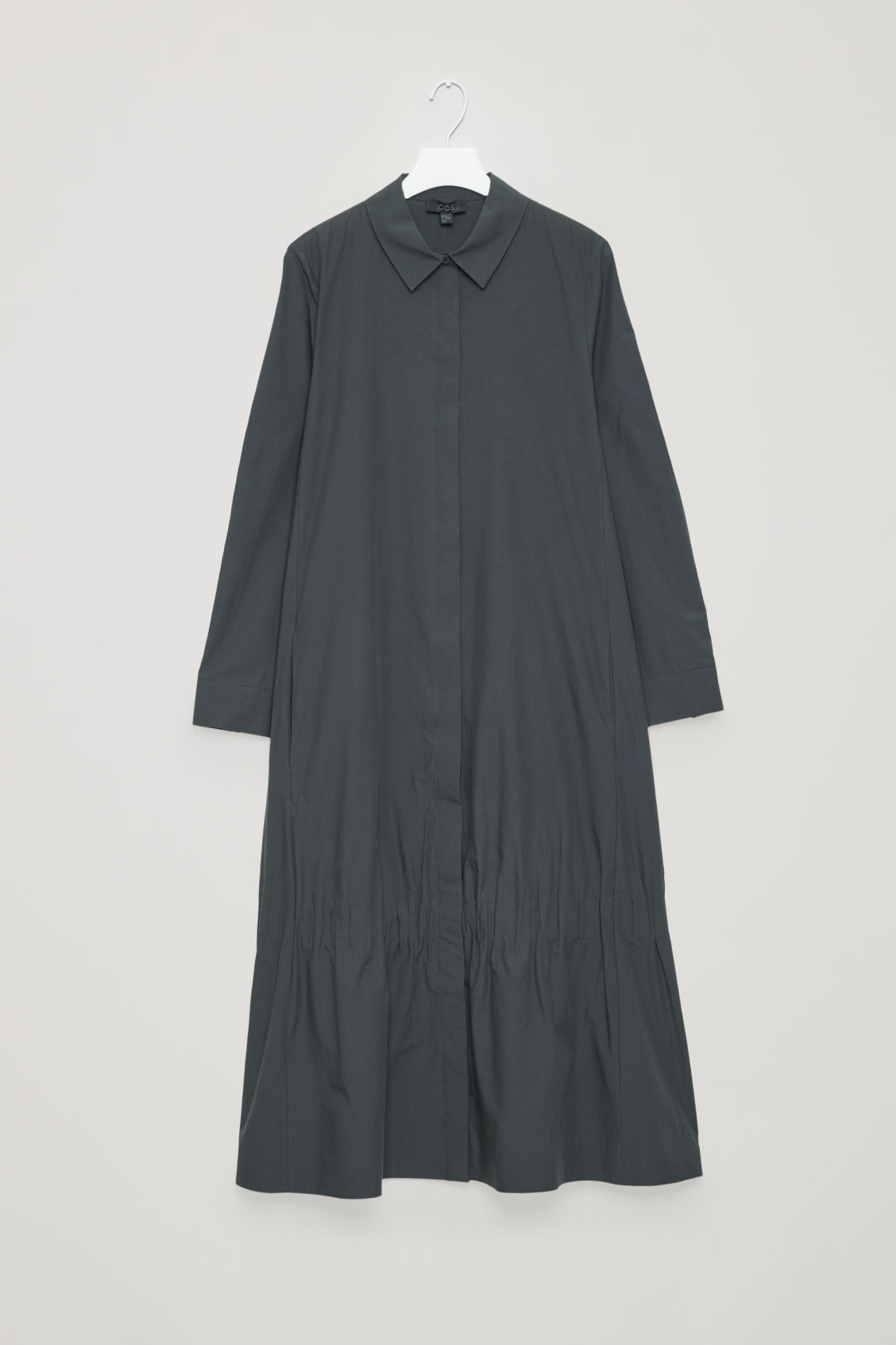 Front image of Cos shirt dress with gathered hem  in grey