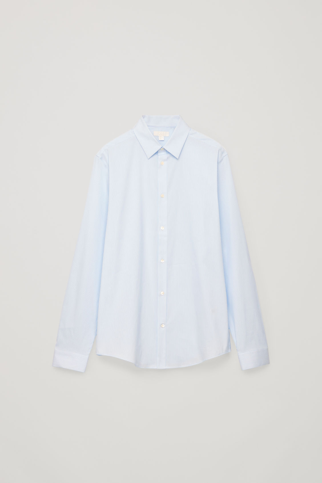 Front image of Cos pinstriped stretch-cotton shirt  in blue
