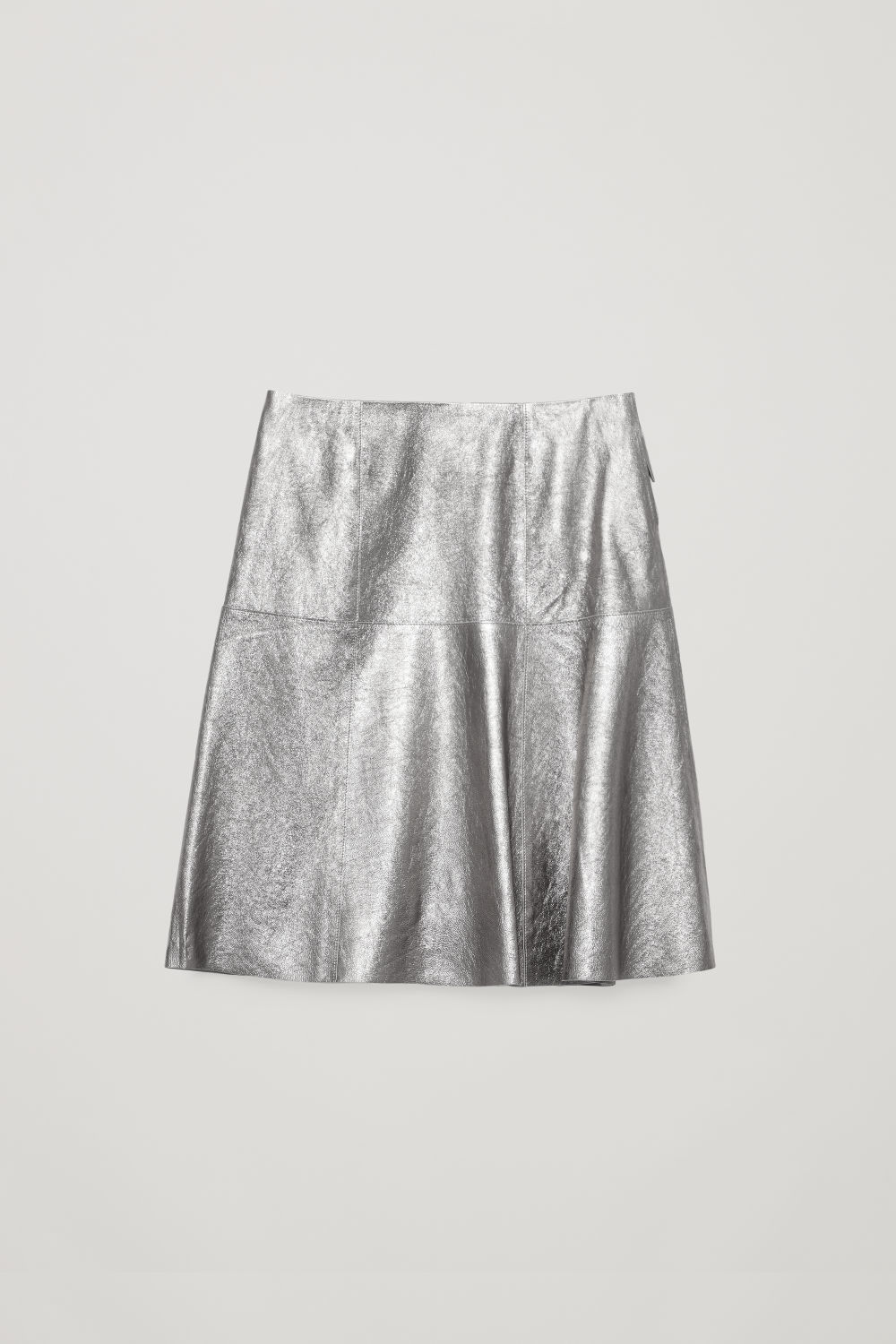 CRACKED-LEATHER A-LINE SKIRT