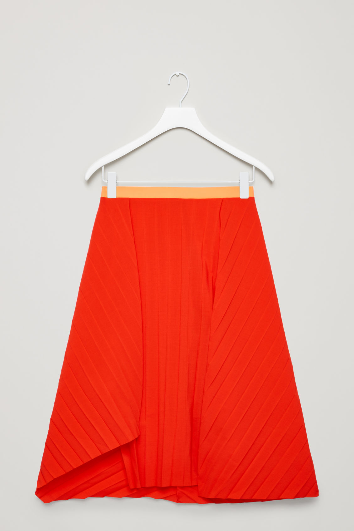 Front image of Cos pleated asymmetric skirt in red
