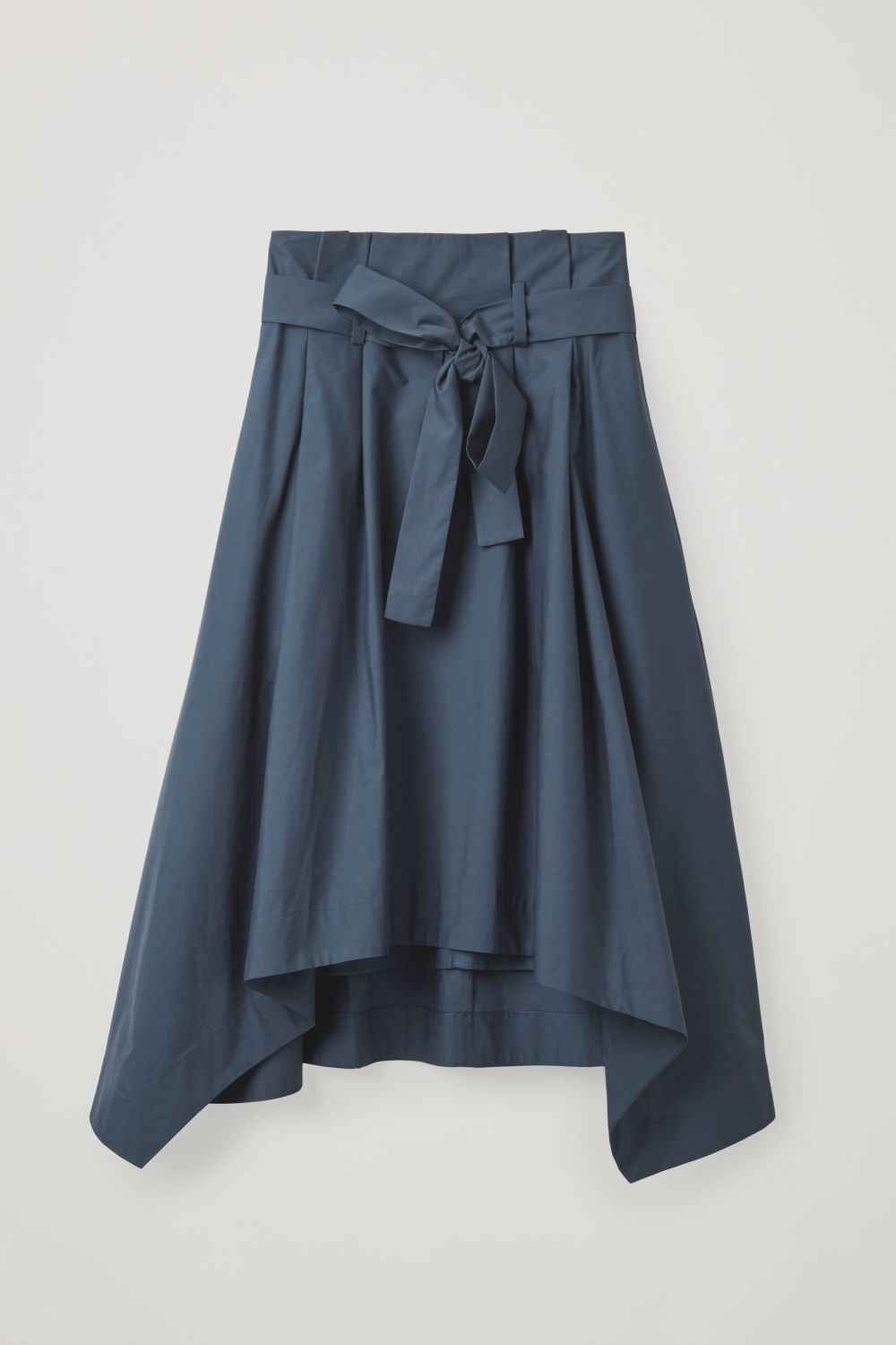 Front image of Cos handkerchief-hem poplin skirt in blue