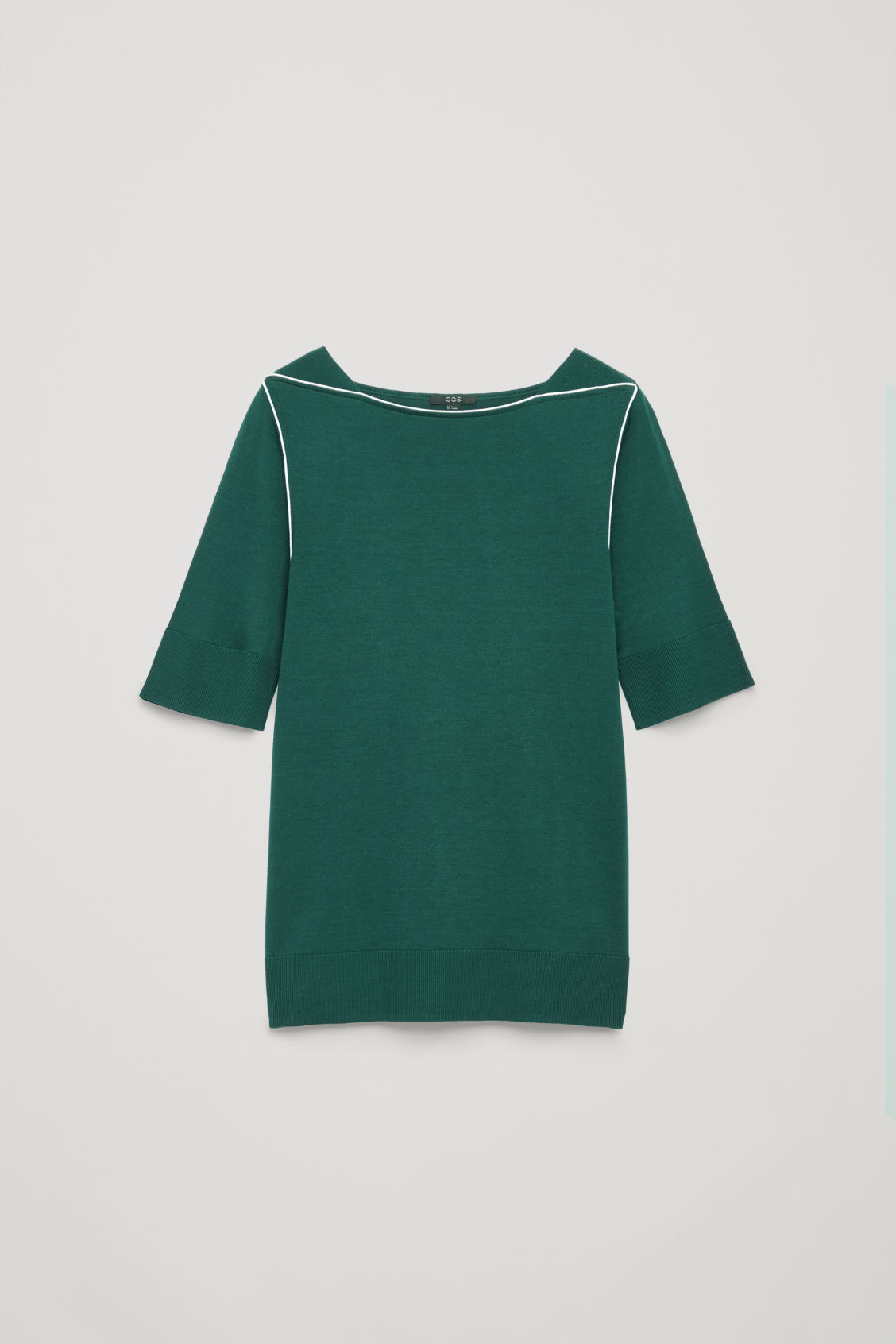 Front image of Cos silk-blend knit top with piping in green
