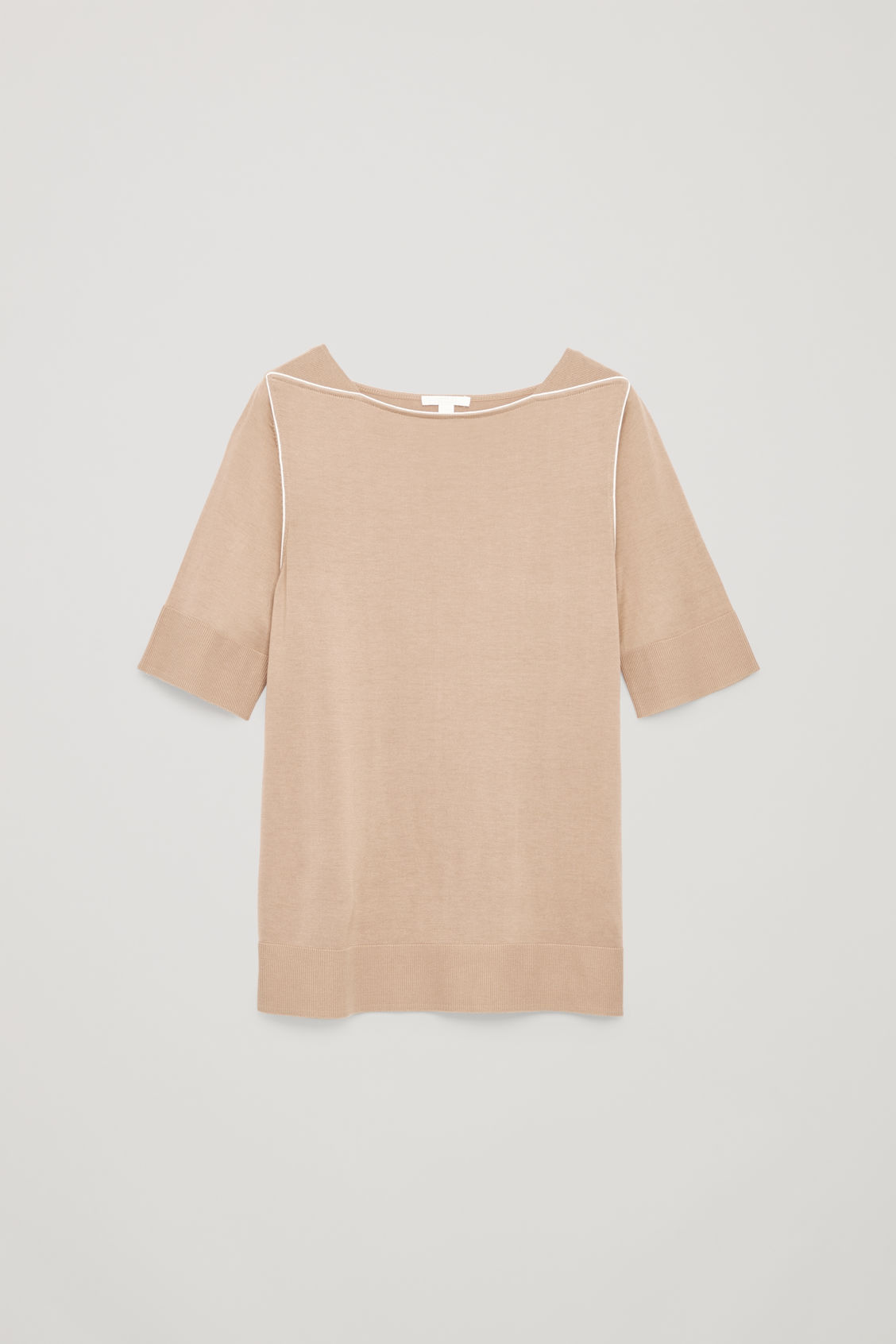 Front image of Cos silk-blend knit top with piping in beige