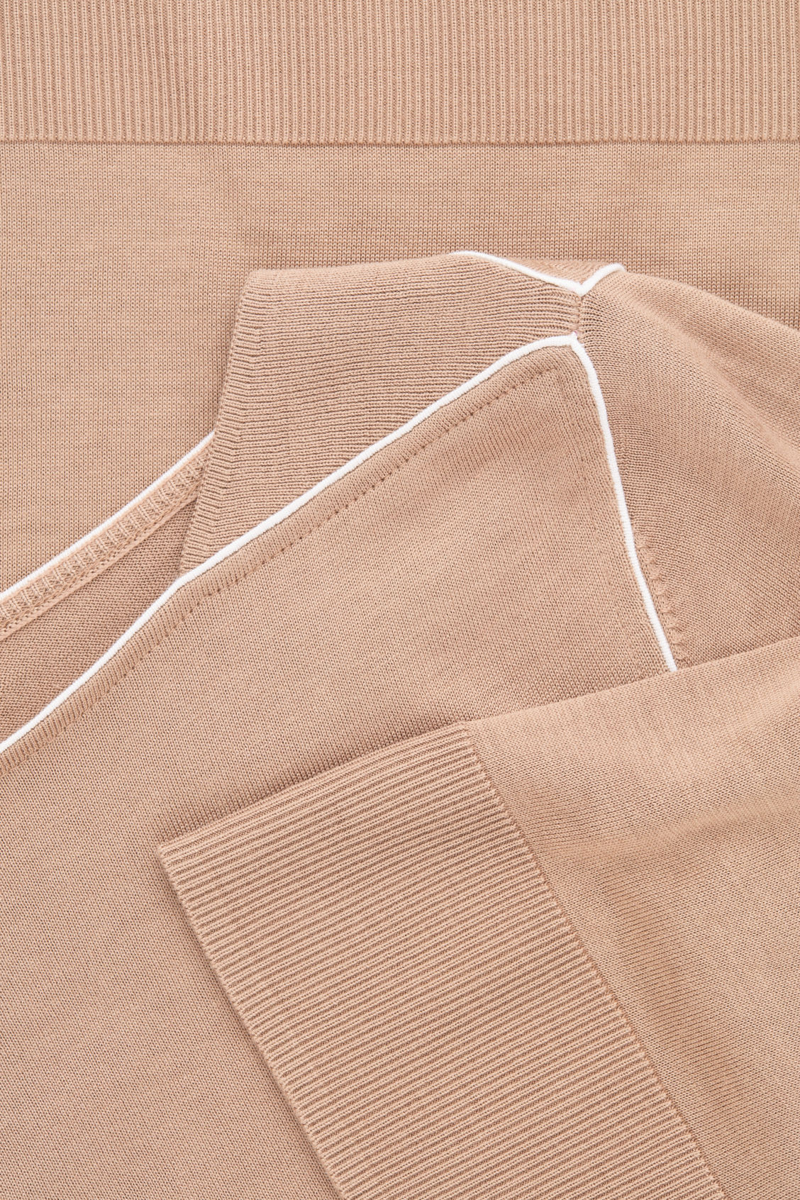 Side image of Cos silk-blend knit top with piping in beige