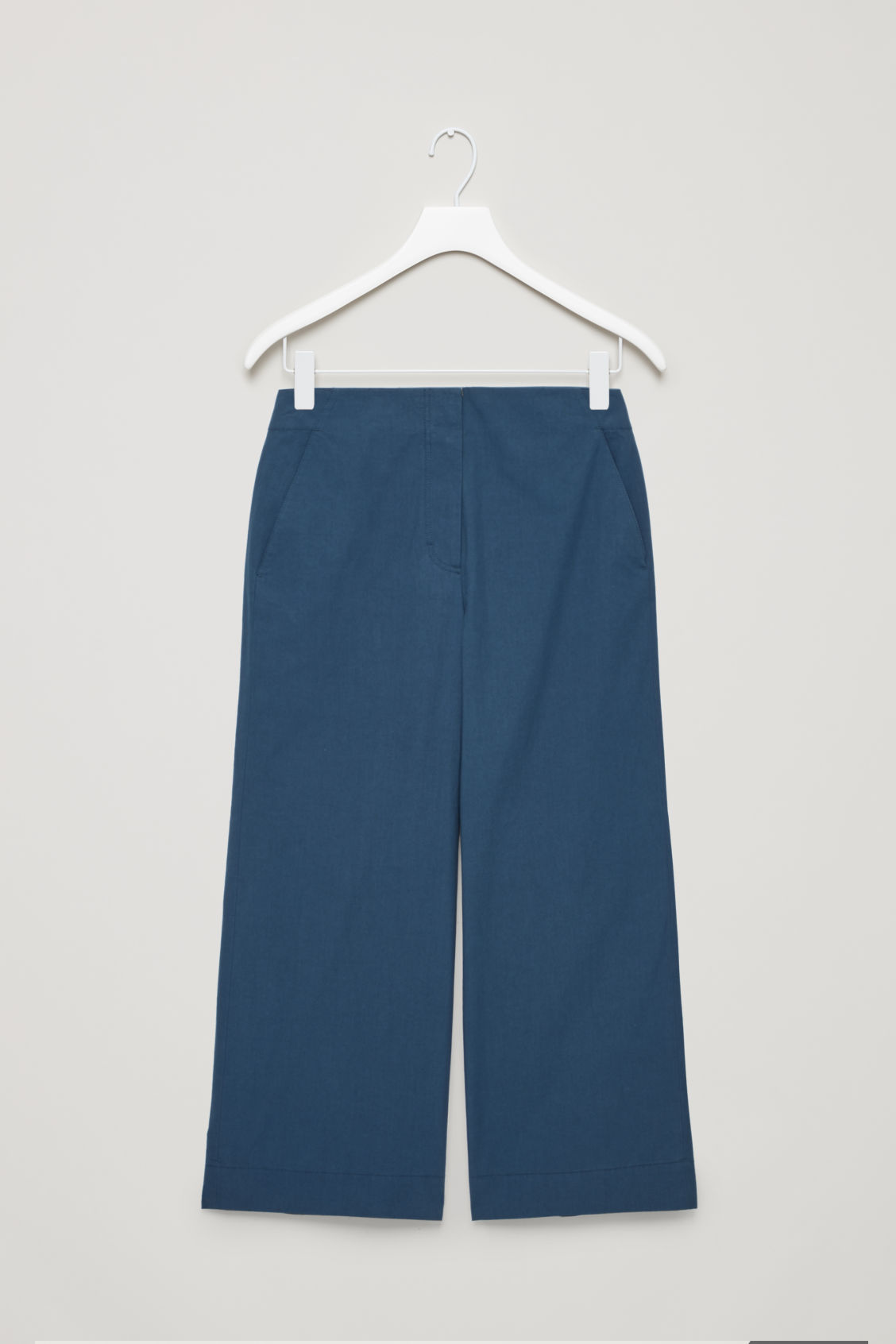 Front image of Cos poplin wide-leg trousers in blue