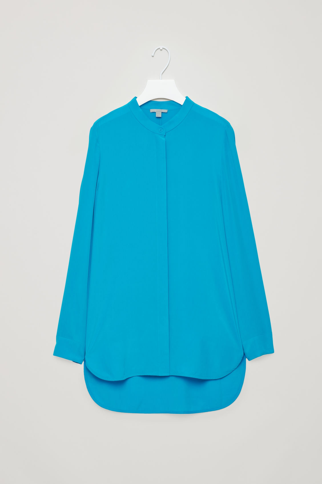 Front image of Cos grandad-collared silk shirt in turquoise
