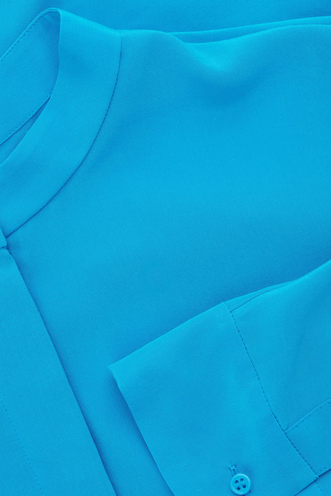 Side image of Cos grandad-collared silk shirt in turquoise