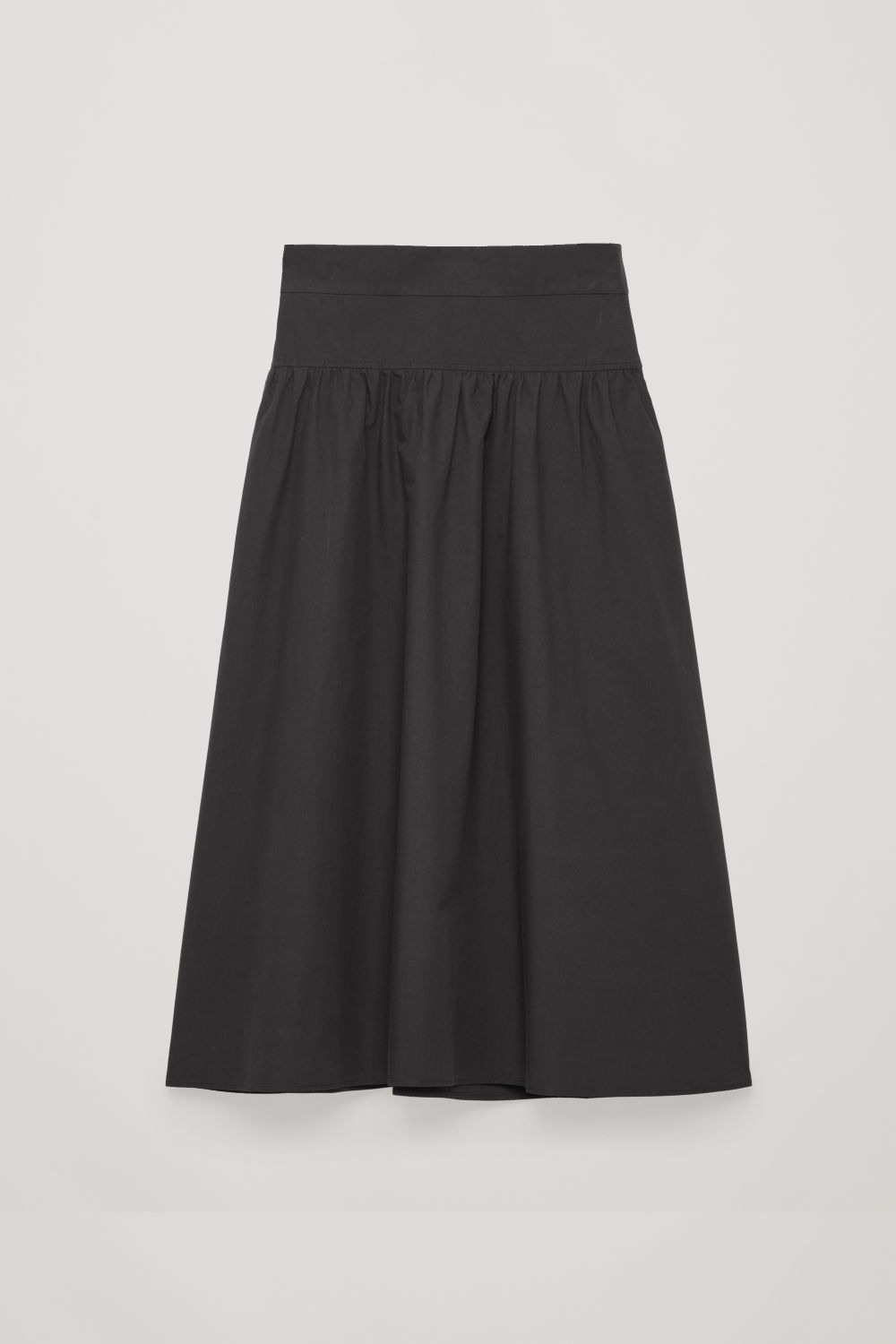 Front image of Cos voluminous poplin panelled skirt in black