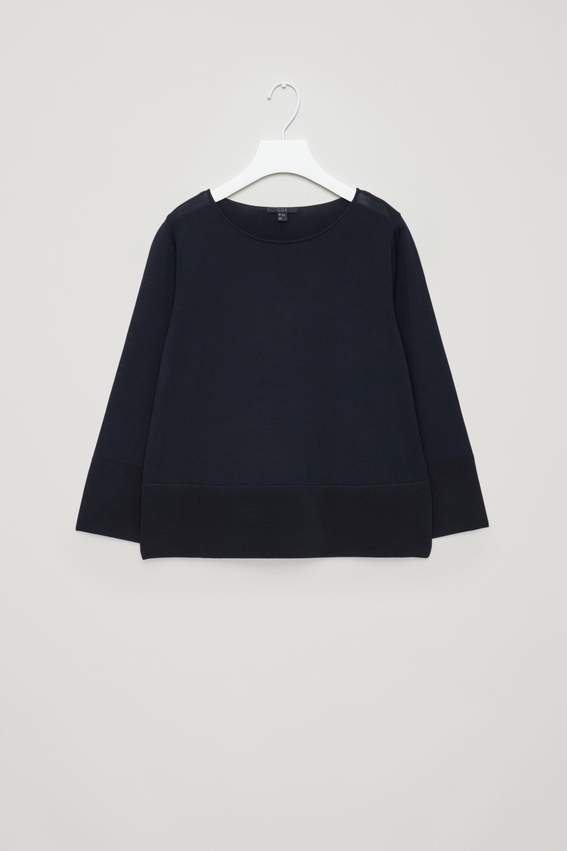 Front image of Cos ripple-stitch knitted top in blue