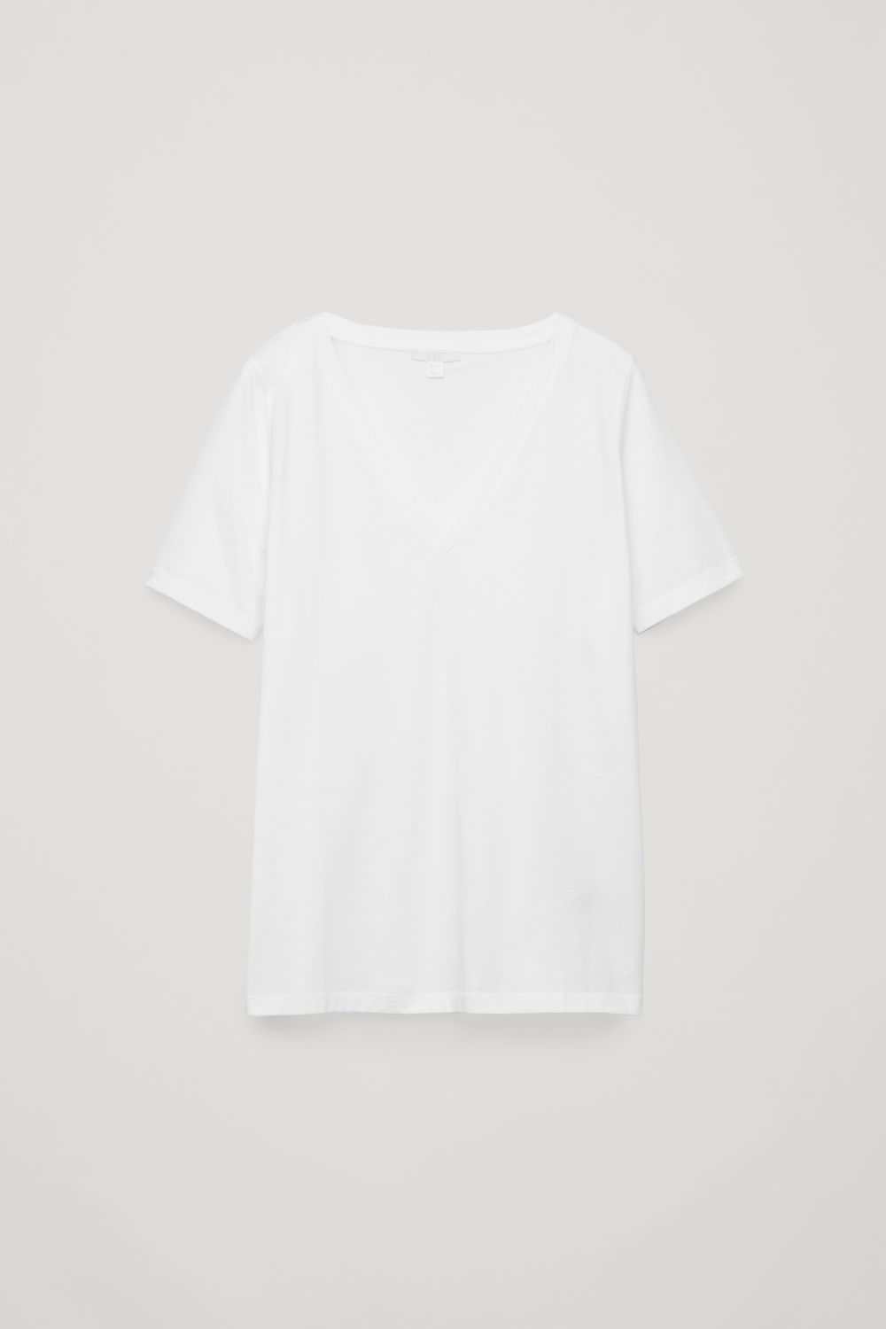Front image of Cos wide v-neck t-shirt in white