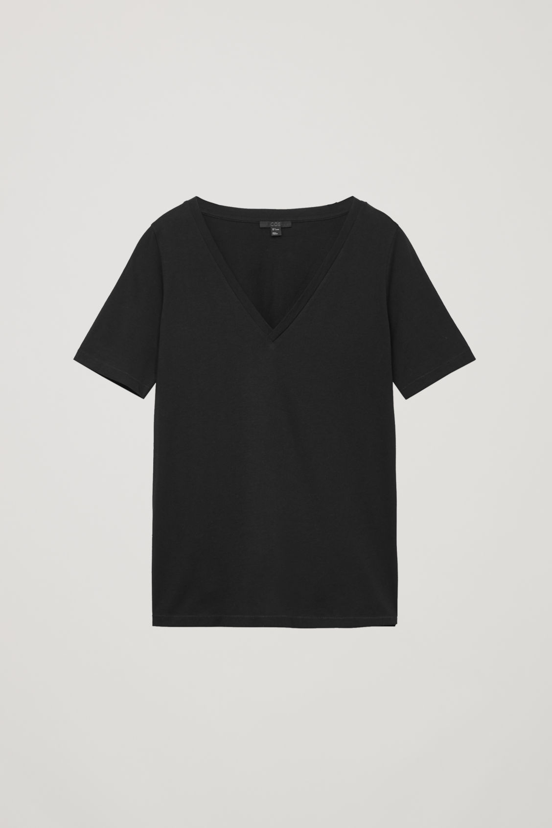 Front image of Cos wide v-neck t-shirt in black