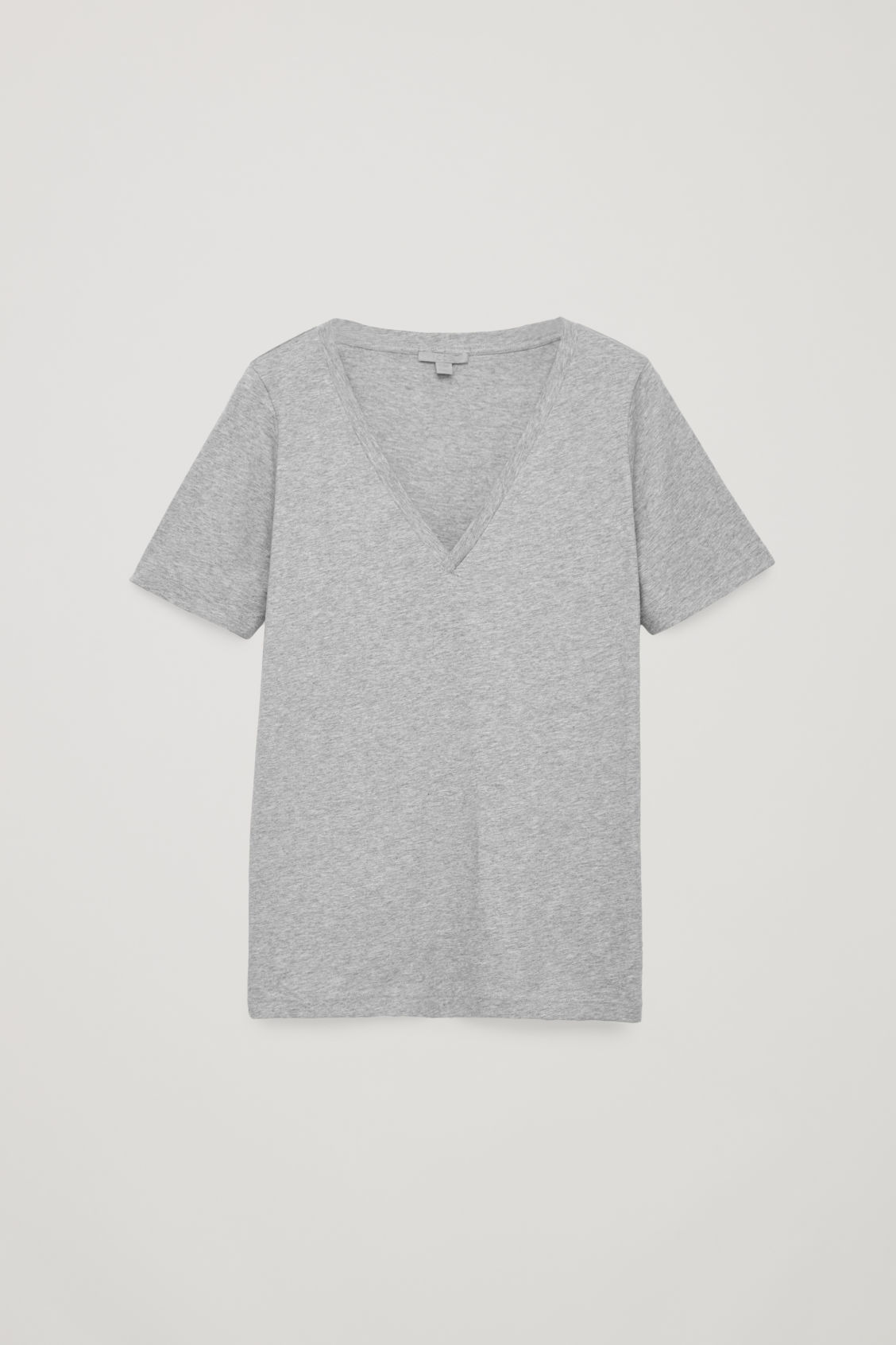 Front image of Cos wide v-neck t-shirt in grey