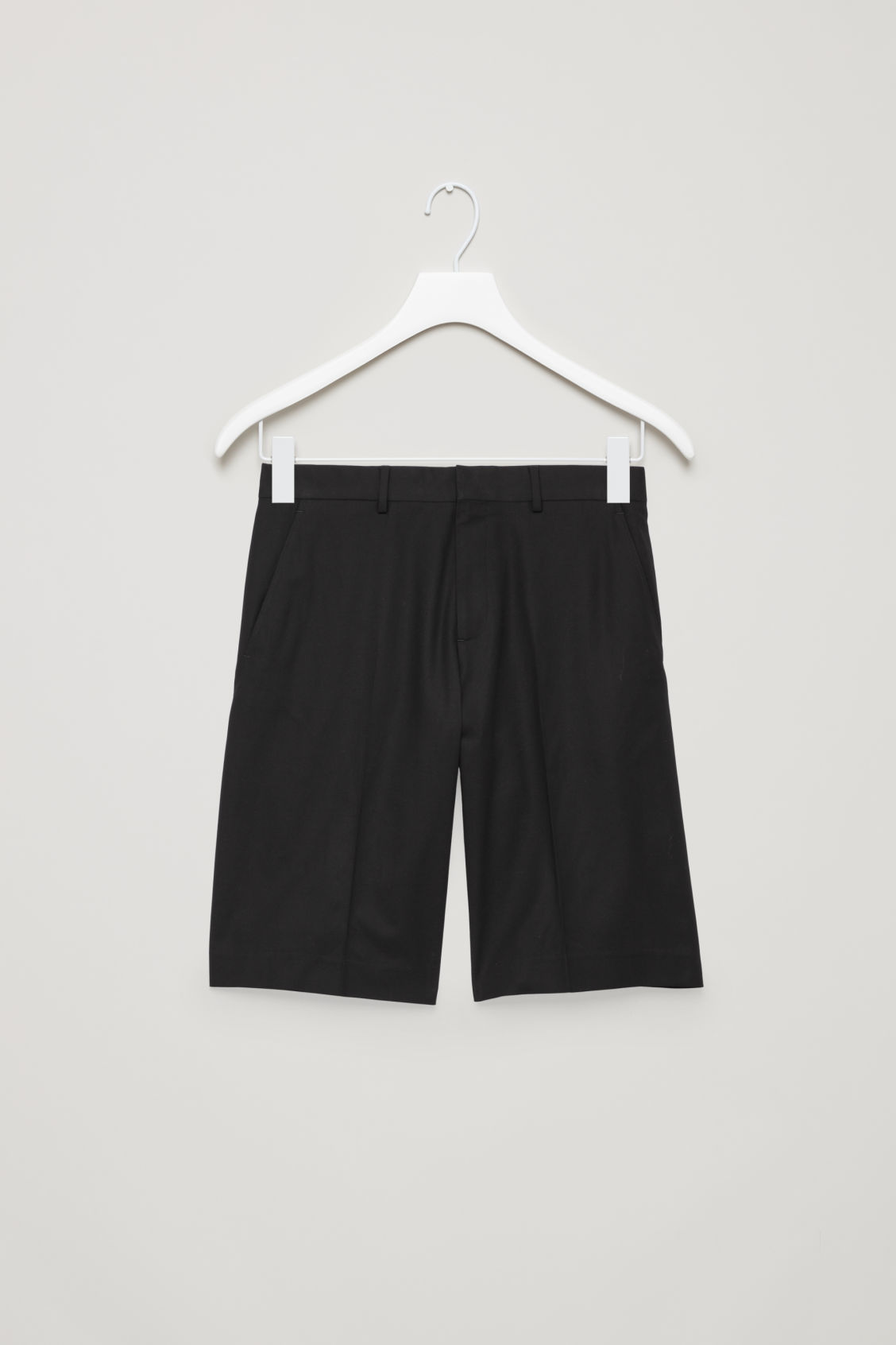 Front image of Cos wide tailored shorts in black