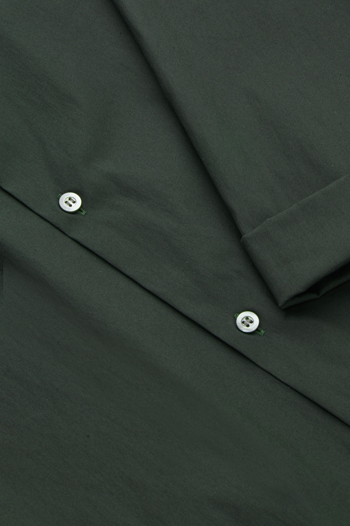 Side image of Cos ¾-sleeved cotton shirt in green