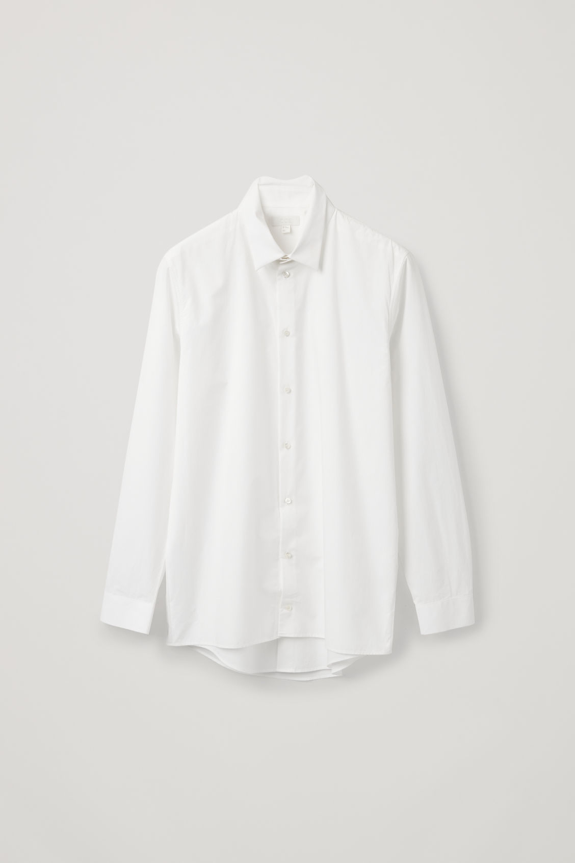 Front image of Cos double layer cotton shirt in white