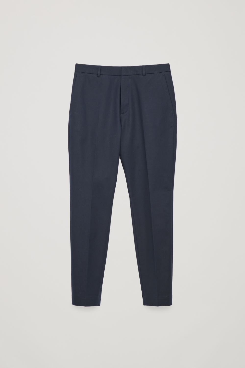 Front image of Cos skinny stretch-cotton trousers in blue