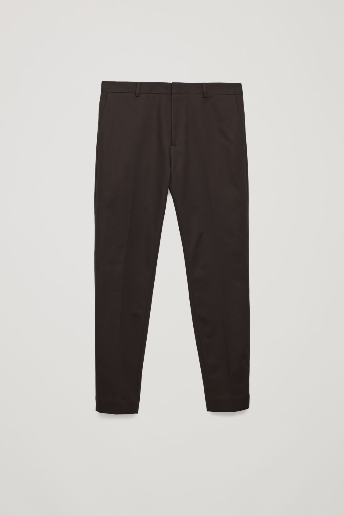 Front image of Cos skinny stretch-cotton trousers in brown