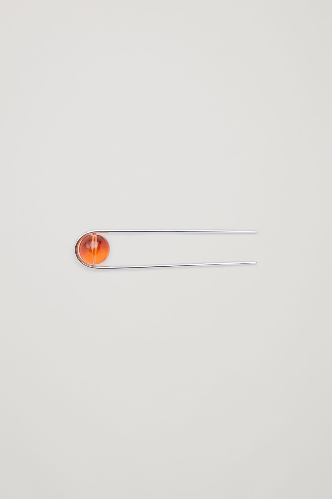 Front image of Cos glass-ball hairpin in orange