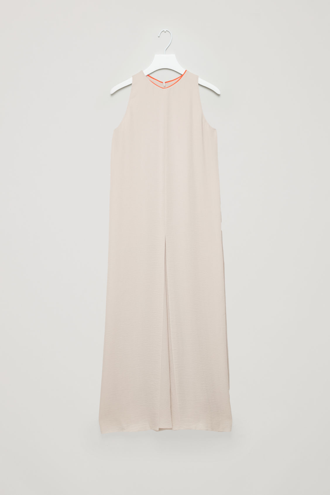 Front image of Cos sleeveless dress with slits in brown
