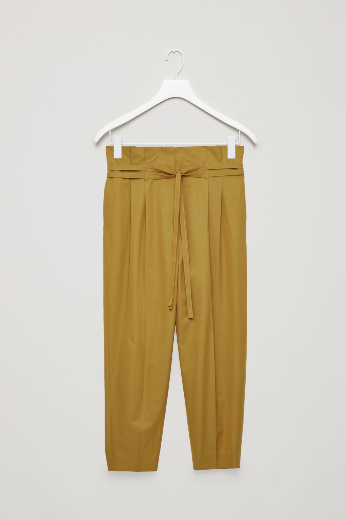 BELTED COTTON TAPERED TROUSERS