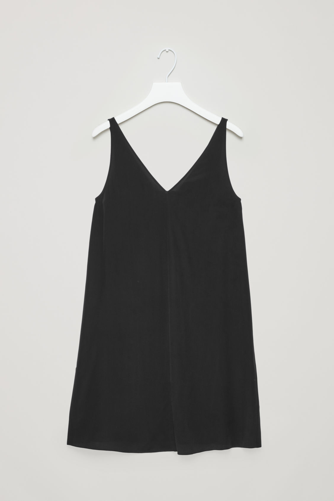 Front image of Cos sleeveless silk dress in black
