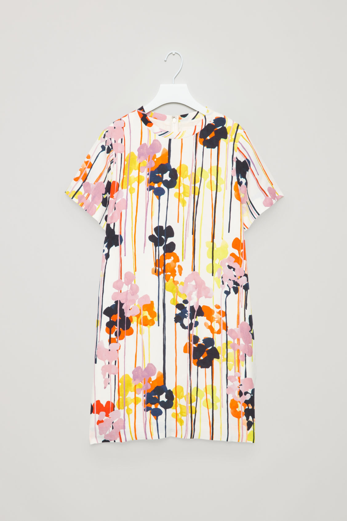 Front image of Cos printed linen-blend dress in white