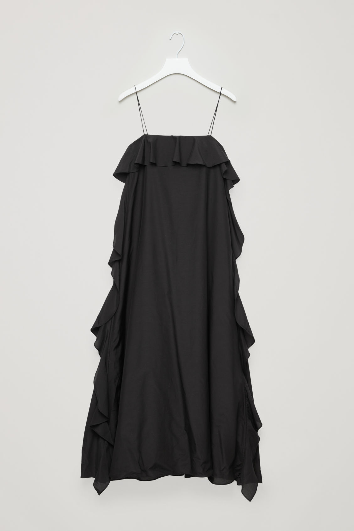 Front image of Cos frilled cotton-silk dress in black