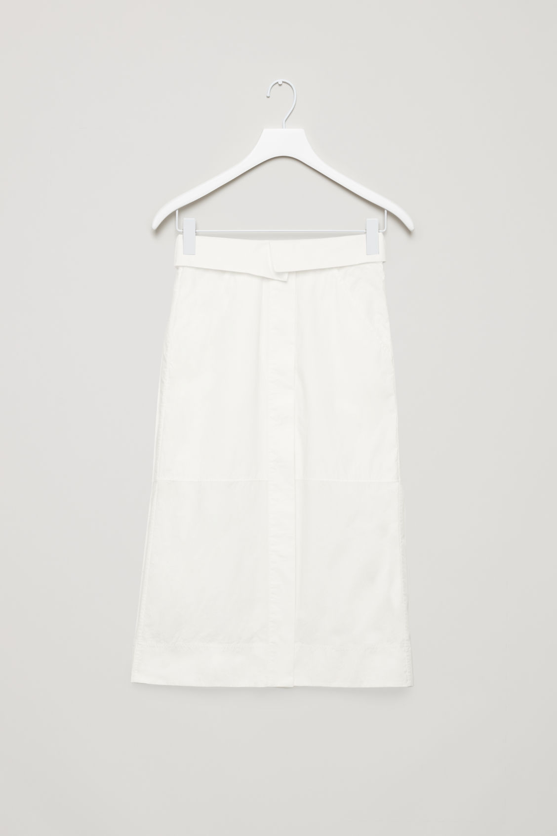 Front image of Cos long skirt with folded waistband  in white