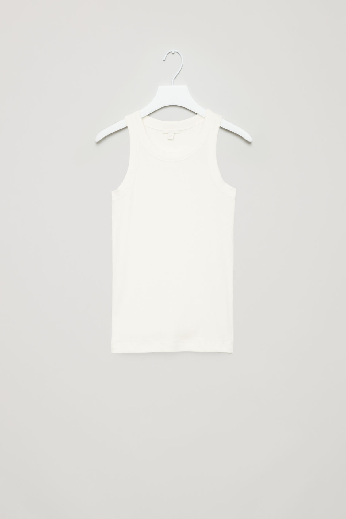 Front image of Cos ribbed jersey vest top in white
