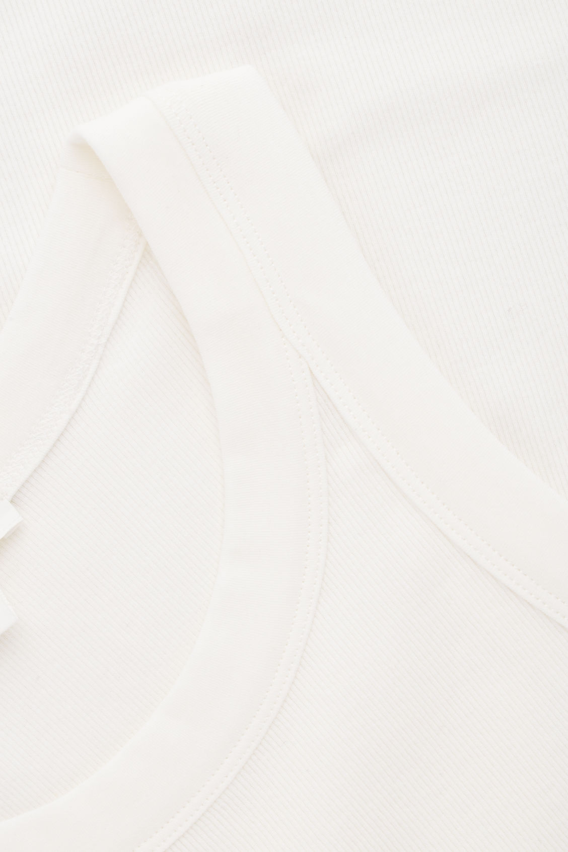 Side image of Cos ribbed jersey vest top in white