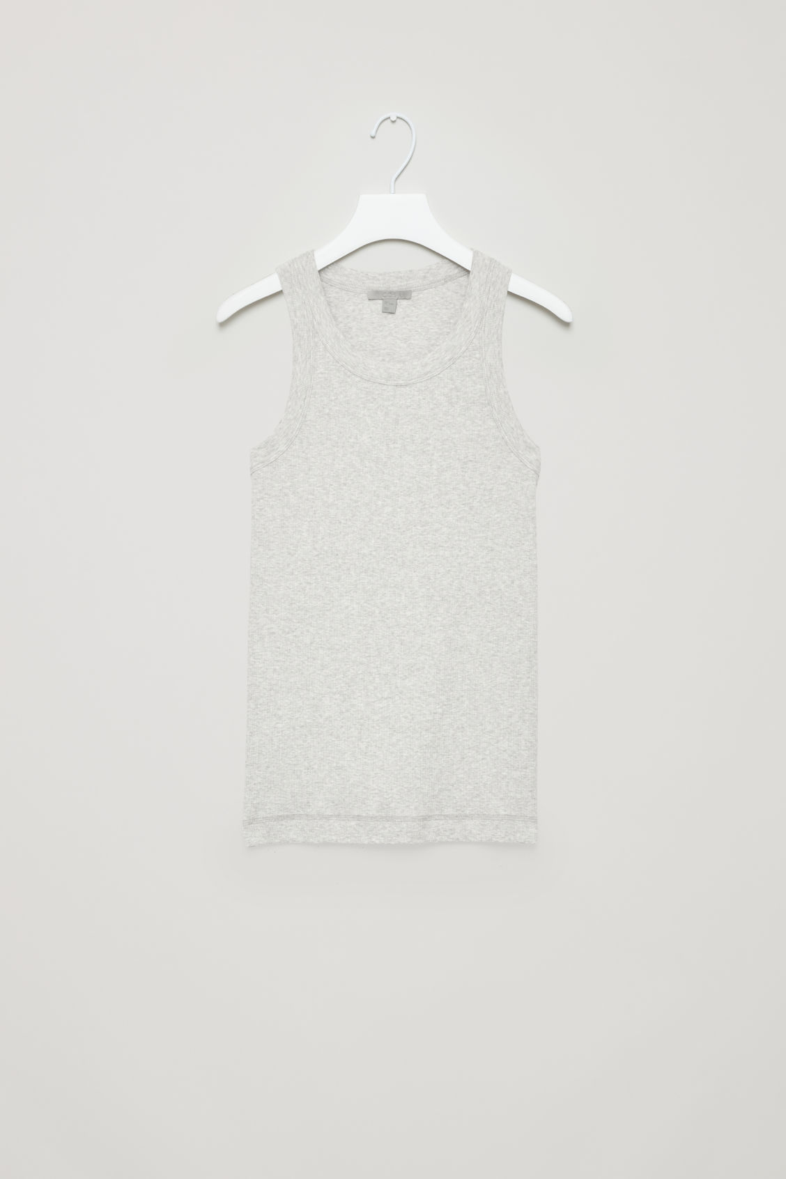 Front image of Cos ribbed jersey vest top in grey
