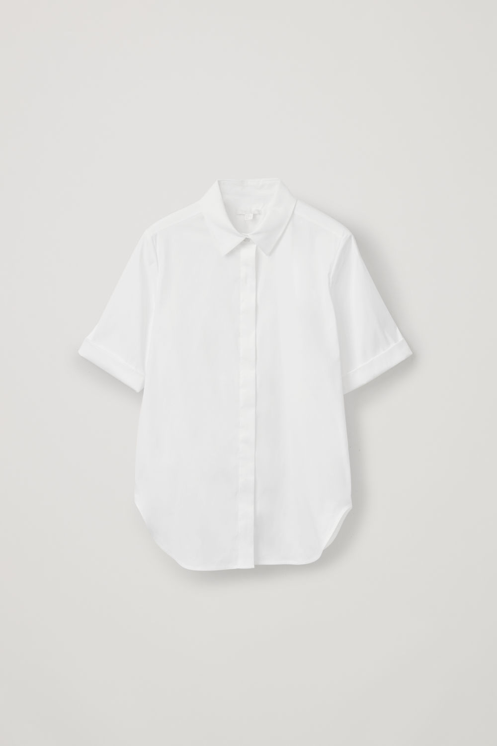 Front image of Cos slim shirt with turn-up sleeves in white