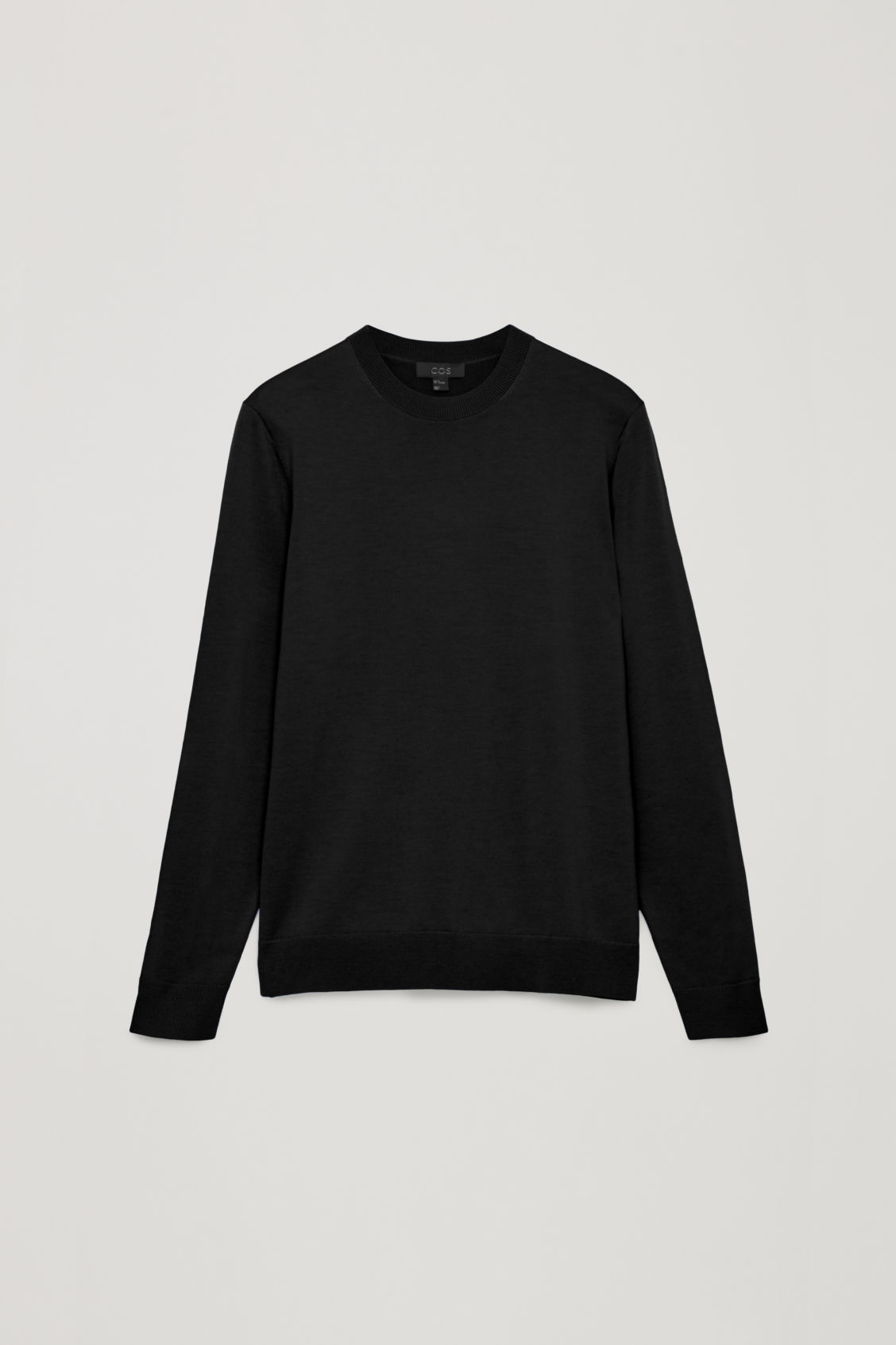 Front image of Cos merino wool jumper in black