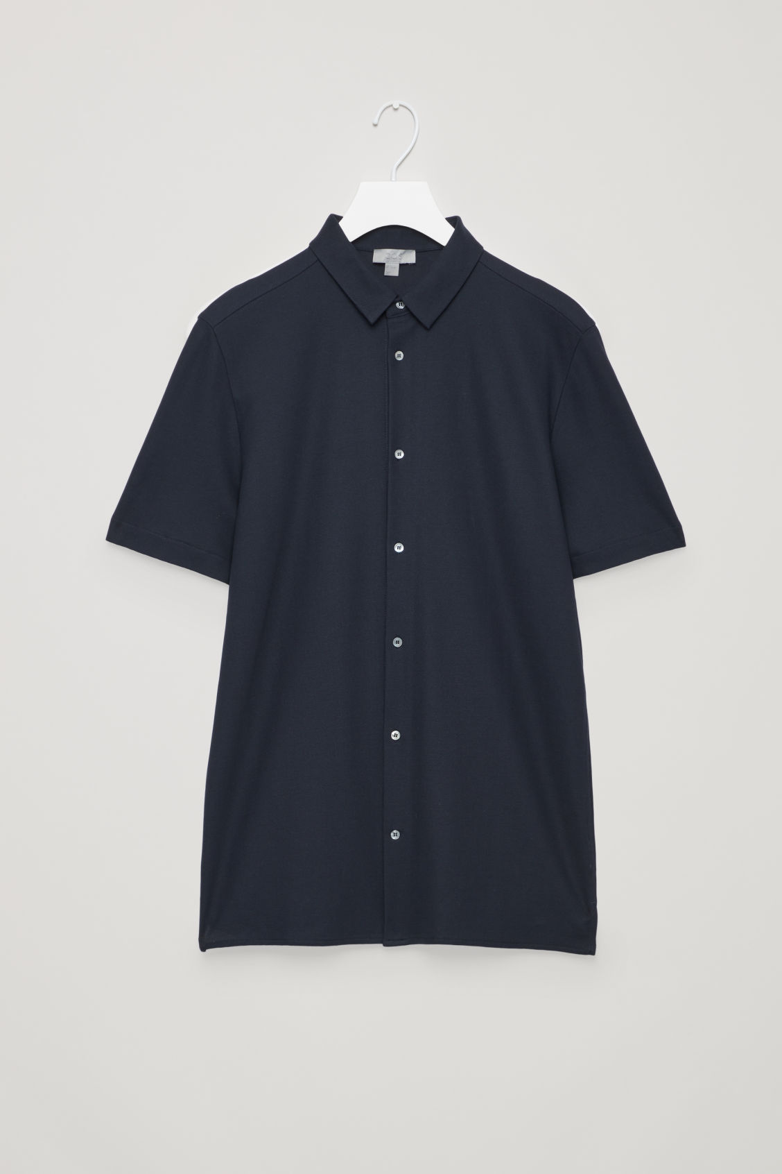 Front image of Cos short-sleeved pique shirt in blue