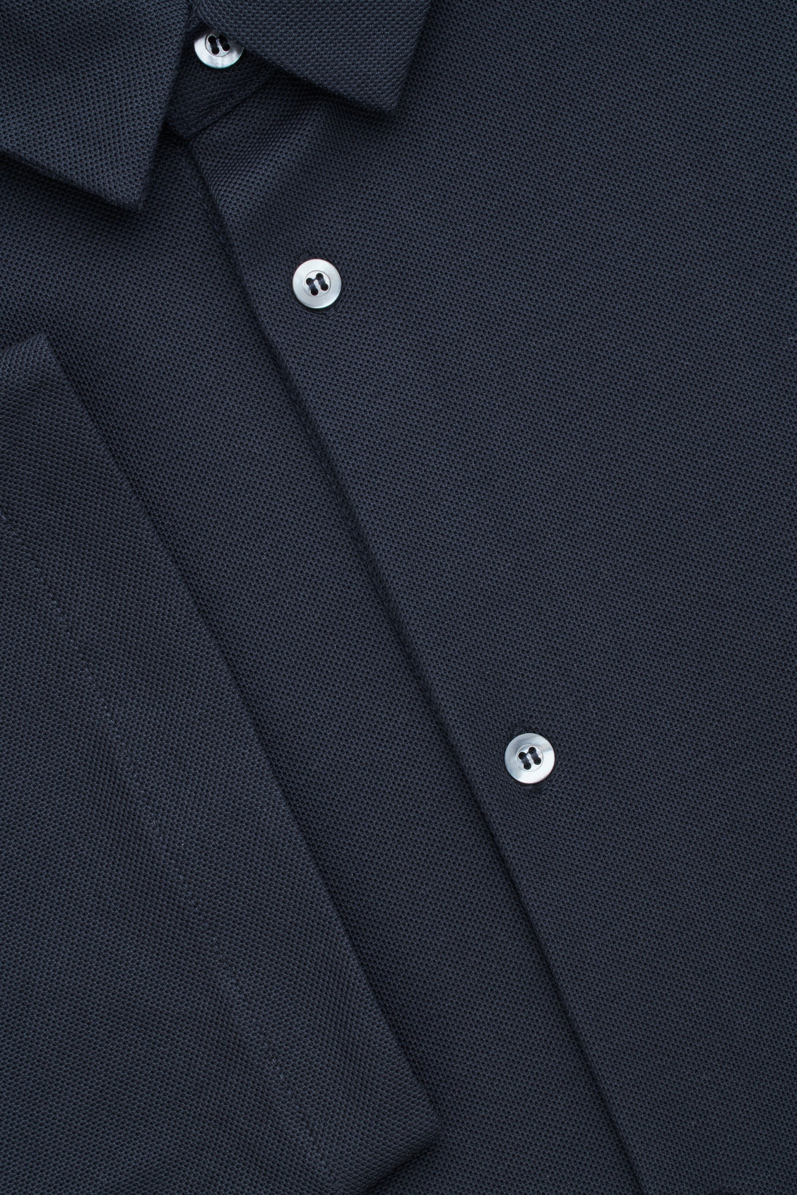 Side image of Cos short-sleeved pique shirt in blue