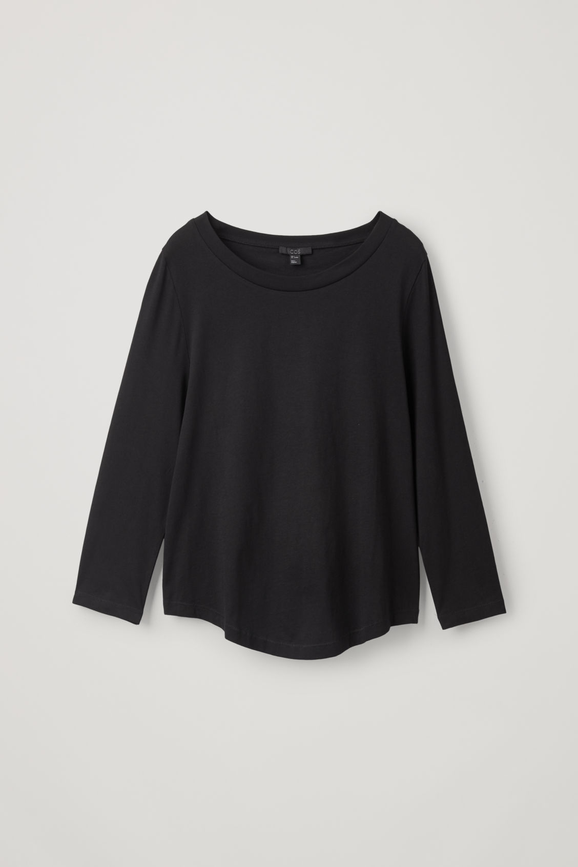 Front image of Cos ¾-sleeved cotton top in black