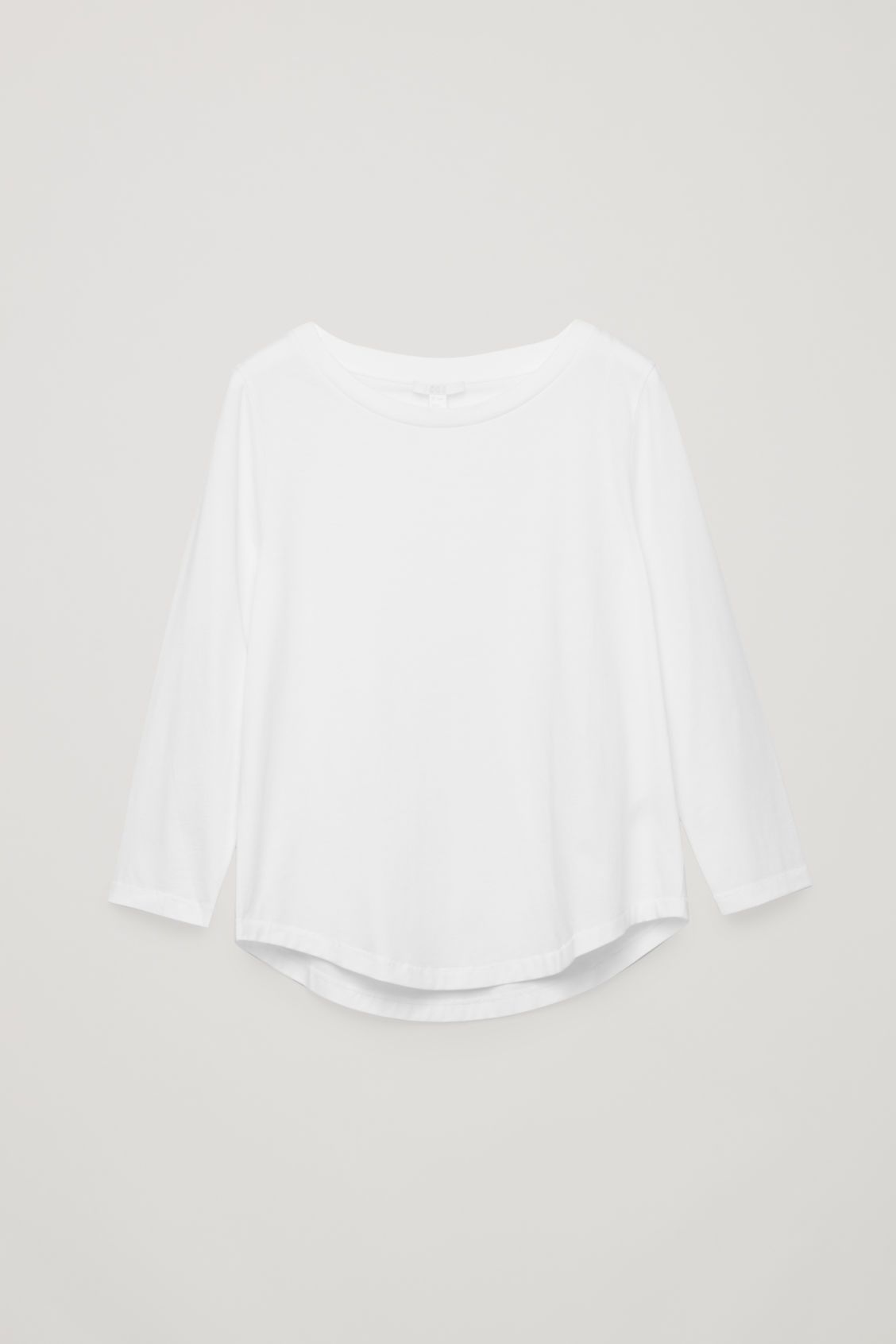 Front image of Cos ¾-sleeve cotton top in white