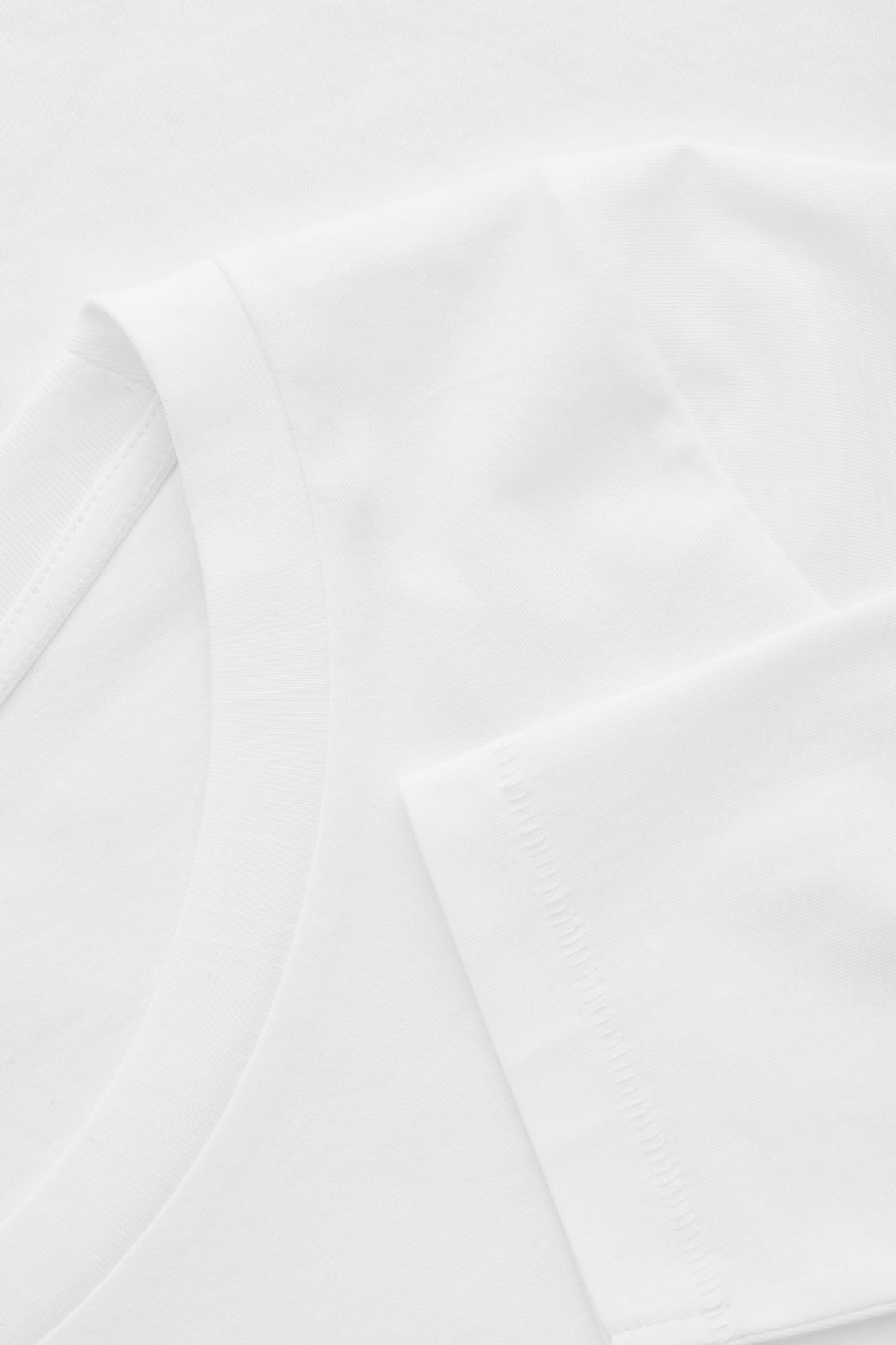 Side image of Cos ¾-sleeve cotton top in white