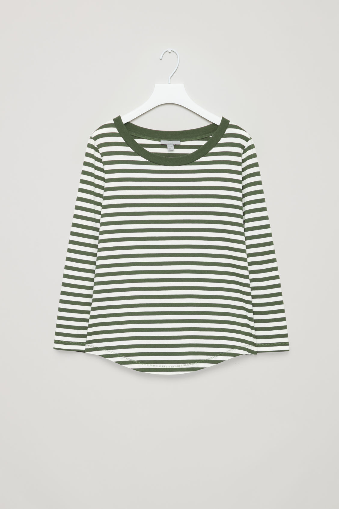 Side image of Cos ¾-sleeved cotton top in green