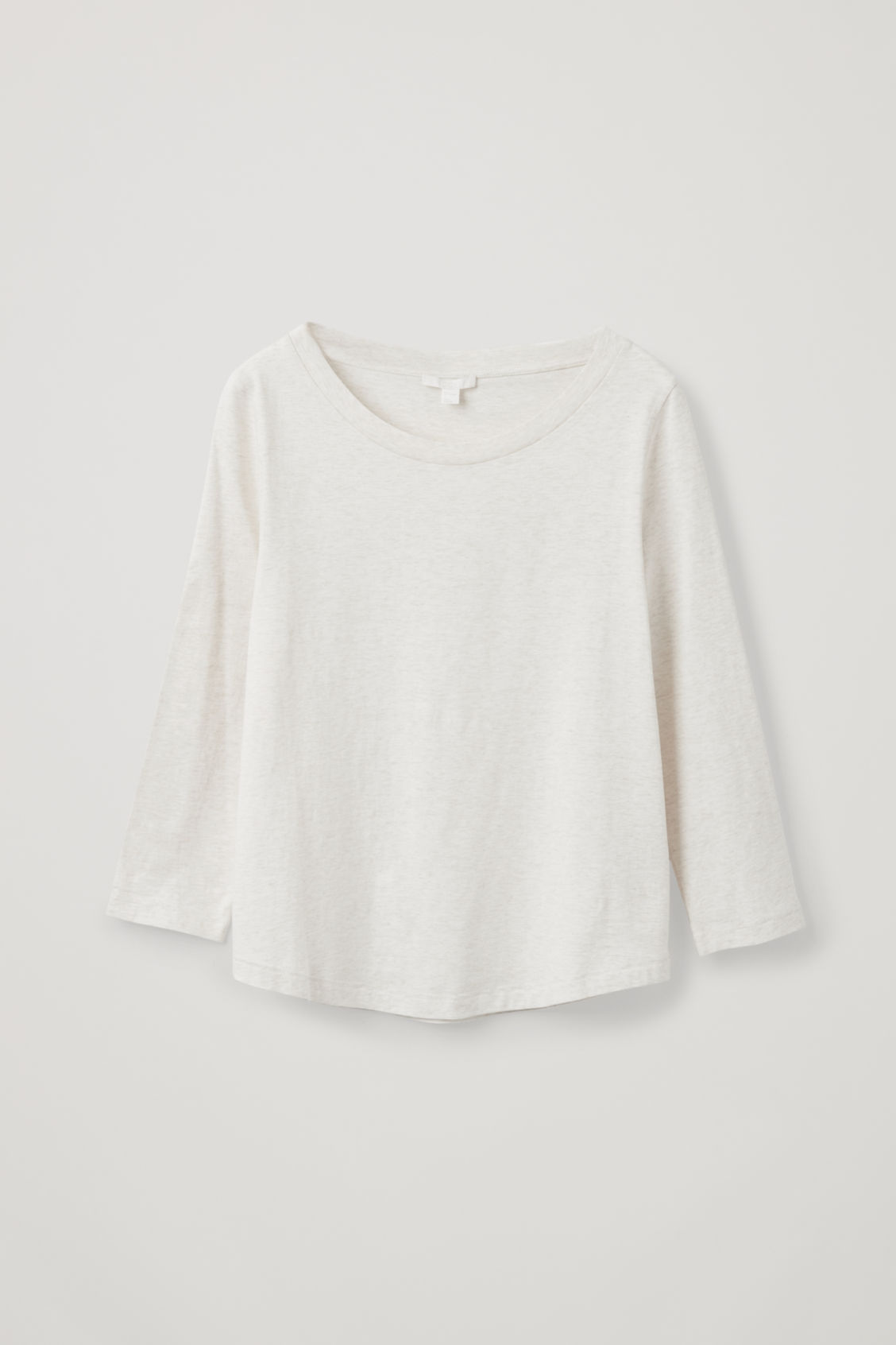 Front image of Cos ¾-sleeved cotton top in beige