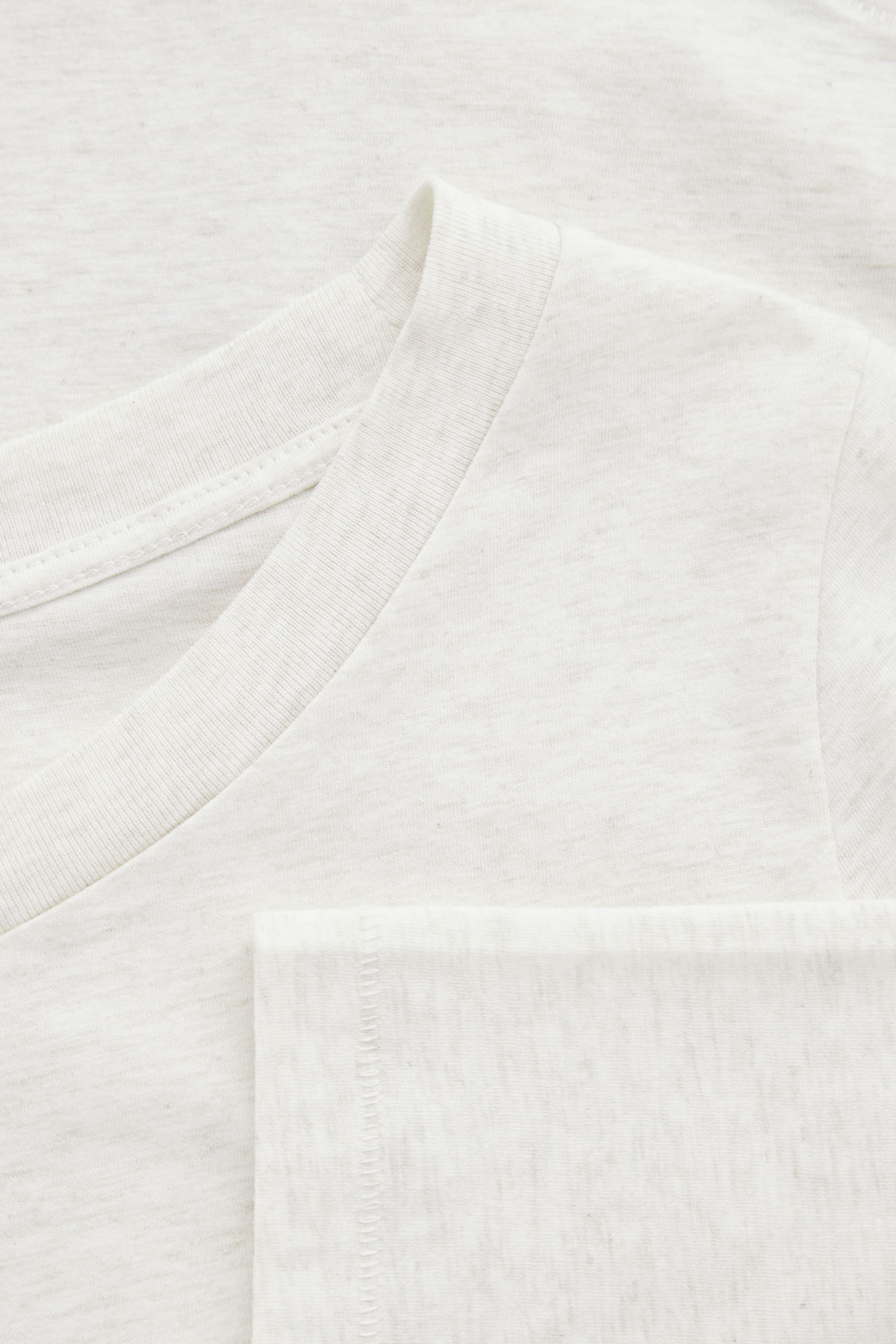 Side image of Cos ¾-sleeved cotton top in beige