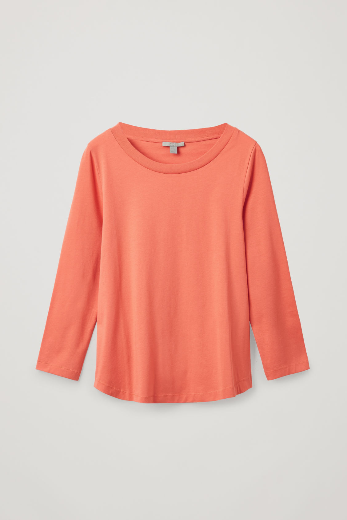 Front image of Cos ¾-sleeved cotton top in orange